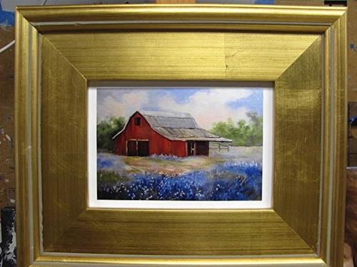 """Print of Blue Bonnets with a Red Barn"" original fine art by Barbara Haviland"
