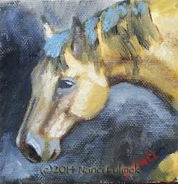 """Buckskin 4×4 oil"" original fine art by Nanci Fulmek"