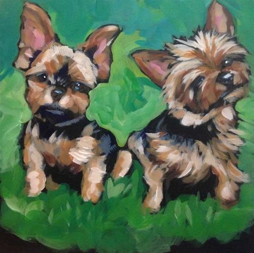 """""""Double Yorkies"""" original fine art by Kat Corrigan"""