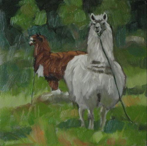 """Dos Llamas 6x6 oil"" original fine art by Claudia Hammer"