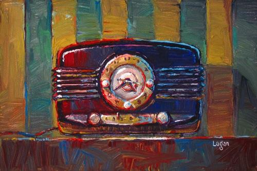 """Decca Clock Radio on Stripes"" original fine art by Raymond Logan"