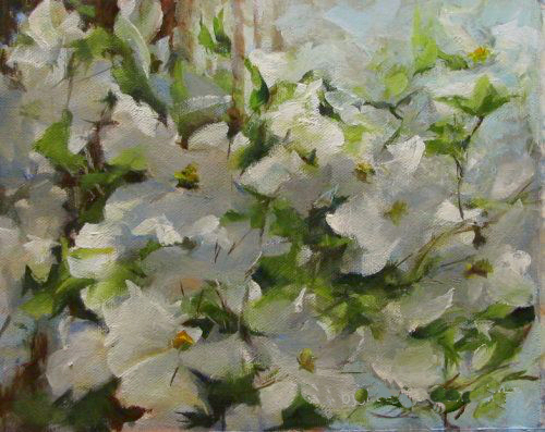 """Wind, Light and Dogwoods"" original fine art by Dianne Mize"