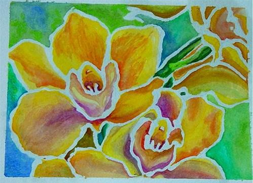 """Orchids I"" original fine art by Maria Levandowski"
