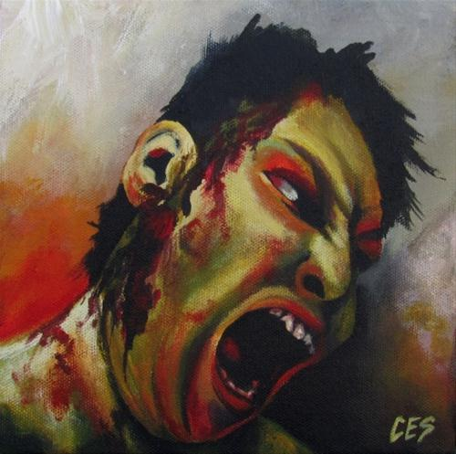 """Anonymous Zombie"" original fine art by ~ces~ Christine E. S. Code"