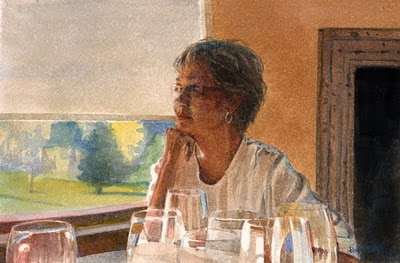 """Watercolor: Joyce (and a painting by Louis A. Boileau)"" original fine art by Belinda Del Pesco"