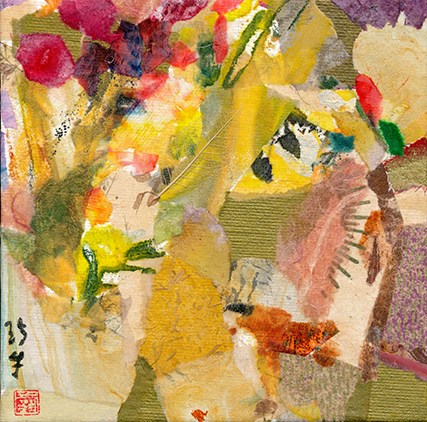 """Floral Collage"" original fine art by Janet Gunderson"