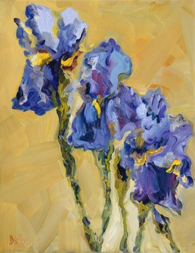"""IRIS FLORAL ART OIL PAINTING D WHITEHEAD FINE ART"" original fine art by Diane Whitehead"