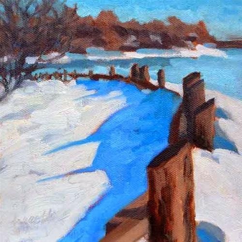 """Snow Fence"" original fine art by Bobbi Heath"