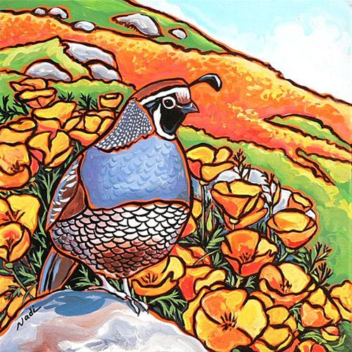 """""""33 Quail and Poppies"""" original fine art by Nadi Spencer"""