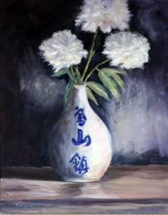 """Peonies in Japanese Vase"" original fine art by Carrie Venezia"