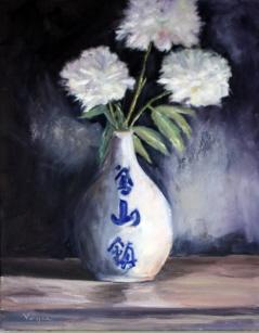 """""""Peonies in Japanese Vase"""" original fine art by Carrie Venezia"""