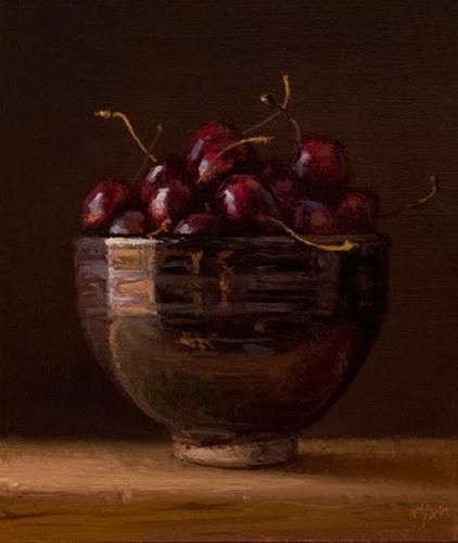 """Bowl of Cherries"" original fine art by Abbey Ryan"