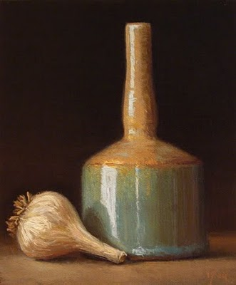 """Still Life with Garlic and Blue-green Bottle"" original fine art by Abbey Ryan"