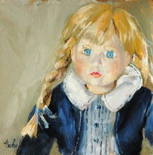 """""""La poupée bleue"""" original fine art by Evelyne Heimburger Evhe"""