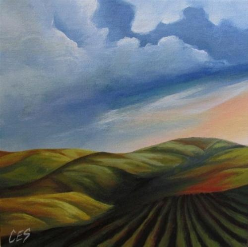 """Farmland in the Hills"" original fine art by ~ces~ Christine E. S. Code"