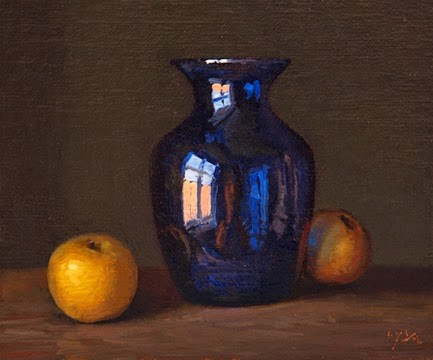 """Still Life with Blue Vase and Asian Pears"" original fine art by Abbey Ryan"