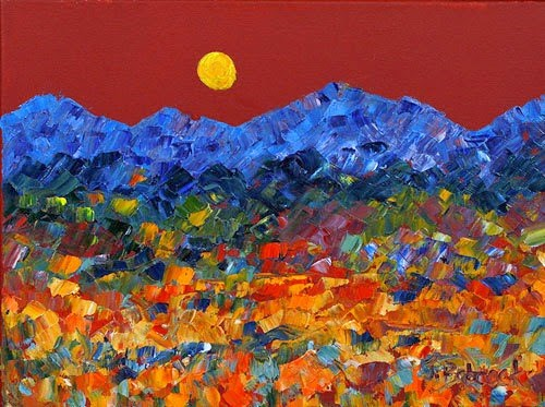 """""""Impressionism Landscape Painting Moon Dance by Colorado Impressionist Judith Babcock"""" original fine art by Judith Babcock"""