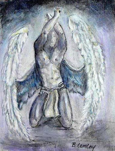 """Winged Man, Icuras"" original fine art by Barbara Lemley"