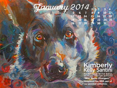"""January Desktop Calendar (sorry, I forgot to share this earlier!)"" original fine art by Kimberly Santini"