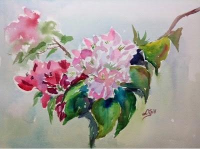 """Day 5 - Plein Air Bougainvillea"" original fine art by Lyn Gill"