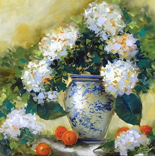 """Blog Talk Radio and Hydrangea Queens in New Orleans ~ Nancy Medina Art ~ Painting Classes and Worksh"" original fine art by Nancy Medina"