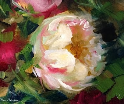 """Pink Peony Solo and a Gift for You by Floral Artist Nancy Medina"" original fine art by Nancy Medina"