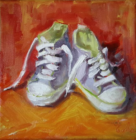 """Chaussons vert pomme"" original fine art by Evelyne Heimburger Evhe"