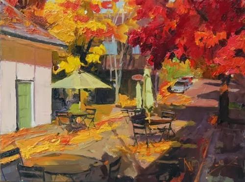 """Madrone Lane Bainbridge Island, urban, plein air, oil painting by Robin Weiss"" original fine art by Robin Weiss"