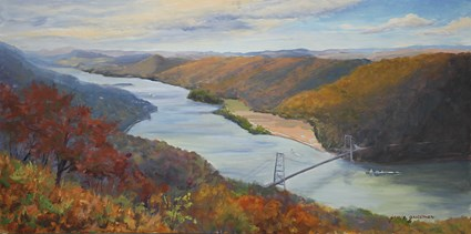 """Autumn Over the Hudson from Bear Mountain"" original fine art by Jamie Williams Grossman"
