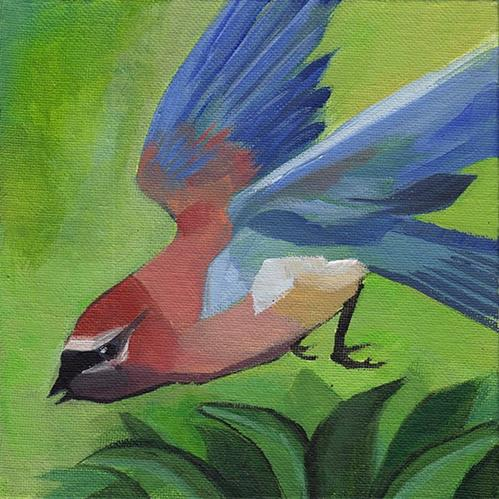 """Waxwing in Flight"" original fine art by J M Needham"