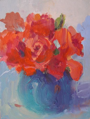 """Birthday Roses, Acrylic Floral Still Life"" original fine art by Amy Whitehouse"