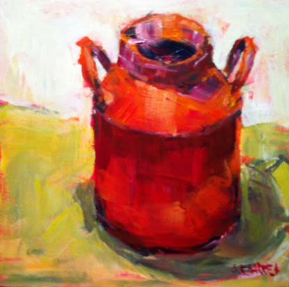 """red can"" original fine art by Shelley Garries"