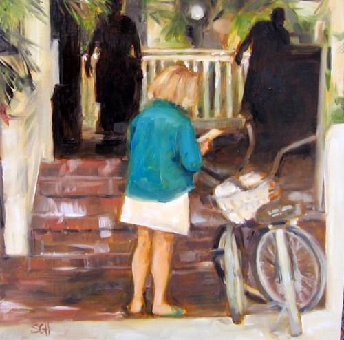 """""""Key West cyclist"""" original fine art by Sandy Haynes"""