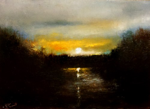 """Sunset at the River"" original fine art by Bob Kimball"