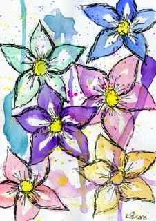 """Rainbow of Flowers"" original fine art by Kali Parsons"