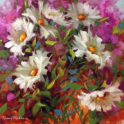 """Step by Step Daisies, Sunseeker Daisies and Florida Here I Come ~ Flower Painting by Nancy Medina"" original fine art by Nancy Medina"