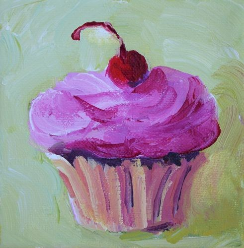 Cupcake Love Contemporary Food Paintings by Arizona Artist Amy Whitehouse original fine art by Amy Whitehouse