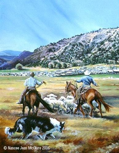 """Original Western Landscape Painting Working The Release Pen by Artist Nancee Jean Busse, Painter o"" original fine art by Nancee Busse"