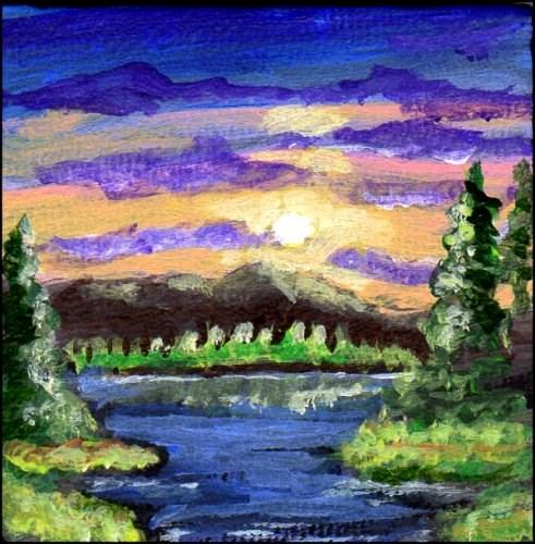"""""""The Setting Sun"""" original fine art by Patricia Ann Rizzo"""