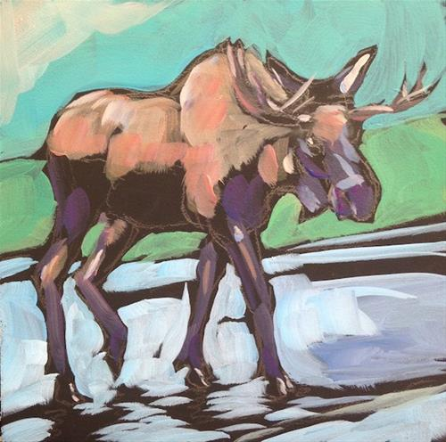"""Moose Walk"" original fine art by Kat Corrigan"