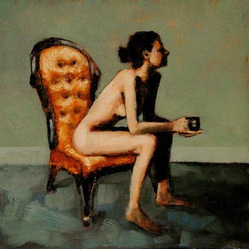 """Sedia Nudo 8x8 oil on linen panel in gold accent frame"" original fine art by David Larson Evans"