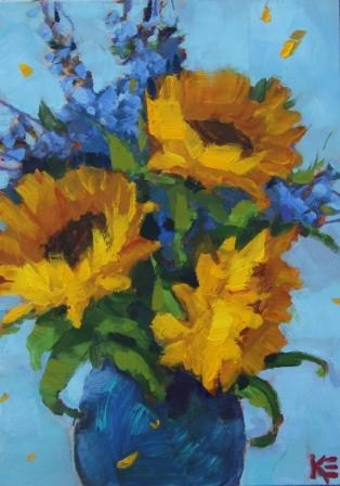 """Sunflowers in Blue I"" original fine art by Krista Eaton"