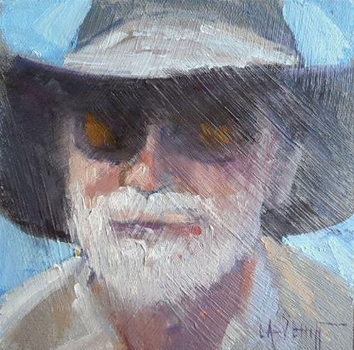 """Daily Painting, Small Oil Painting, Portrait Painting, 6x6: Oil on panel"" original fine art by Carol Schiff"
