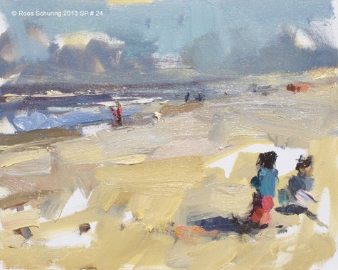 """Seascape spring 24 Windy day yellow beach (available)"" original fine art by Roos Schuring"