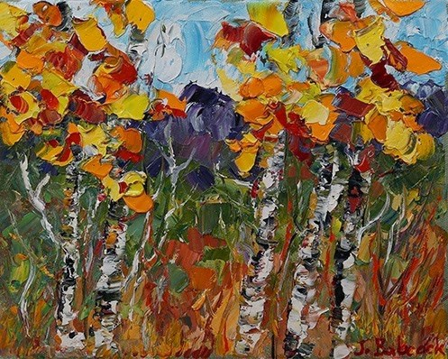 """Palette Knife Aspen Tree Colorado Landscape Painting Foothills Colorado by Colorado Impressionist"" original fine art by Judith Babcock"