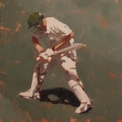 """BATSMAN 6 - Cricket at the MCG"" original fine art by Helen Cooper"