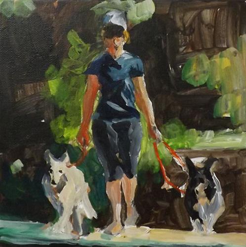 """""""A lady  holding two dogs,u2"""" original fine art by Run-      Zhang Zane"""
