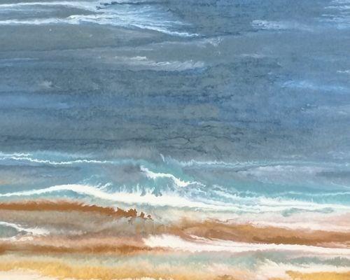 """Contemporary Abstract Seascape Painting Beach Dreams-Duchess II by Colorado Contemporary Artist Ki"" original fine art by Kimberly Conrad"