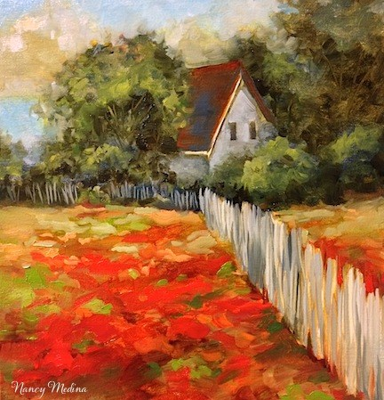 """Indian Paintbrush Homestead by Texas Flower Artist Nancy Medina"" original fine art by Nancy Medina"