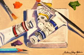"""Mini Painting"" original fine art by JoAnne Perez Robinson"